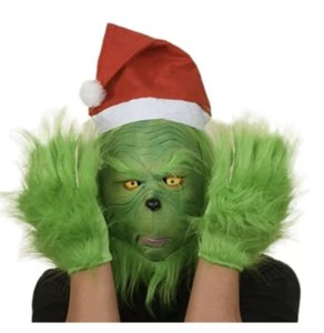 Snailify Grinch Costume Latex Party Masks Funny Carnival For Purim Helmet Halloween Celebrity Props FY9562