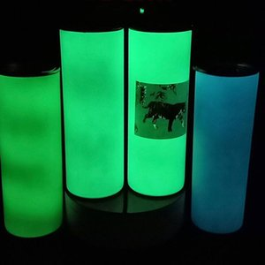 DIY Sublimation Tumbler Glow in The Dark water bottle 20oz STRAIGHT Skinny Tumblers with Luminous paint Cup magic travel mug