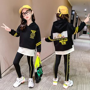 2020 Autumn teenager baby new kids girl Clothes winter tracksuit pattern strip Hoodie + leggings pants 4 5 6 7 8 9 10 11 12 Year X0401