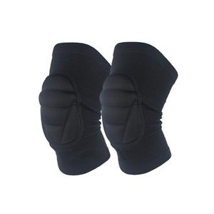 Elbow & Knee Pads 1 Pair Thicken Sports Kneecap Silicone Protector For Soccer Basketball Volleyball Crawling (Black)