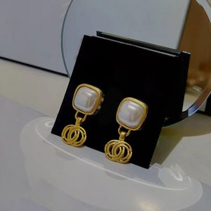 Simple Desingers Earrings Luxurys Fashion Stud Elegant for Woman Classic Square brass bottom plated with glass pearl Earings good nice great