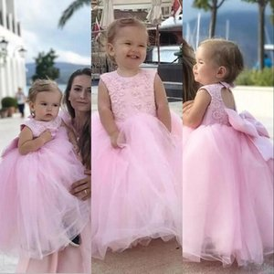 Cute Lovely Pink Mother And Daughter Flower Girls Dresses For Wedding Jewel Neck Princess Long Hollow Back Bow Children Kids Party Communion Gowns