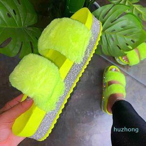 Hot sale-2020 Hot Summer Women Sandals Fashion Furry Rhinestones Sandals Outdoor Beach Thick Bottom Open-toe Shoes Femmes
