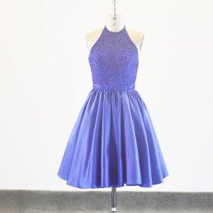 الأزرق الملكي الساتان قصير مصغرة الرسن الرقبة فساتين التخرج ل 8th الفتيات حزب