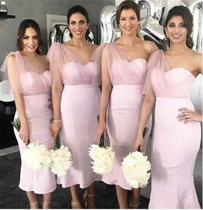 Short Dusty Pink Bridesmaid Dresses One Shoulder Sheath Tea Length Customize Maid Of Honor Dress Plus Size Wedding Party Gowns