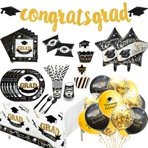 1Set Graduation Balloons Disposable Tableware 2021 Graduation Party Decorations Congrats Grad Paper Garland Banner Class of 2021