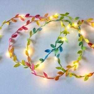 Строки имитация листьев гирлянды струна светло-гибкий медный провод искусственные листья лампа для рождественской свадьбы
