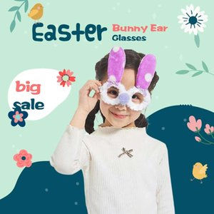 Blue Pink Easter Ear Bunny Mask Prom Glass Party Funny Dress Up Props Birthday Rabbit Glasses