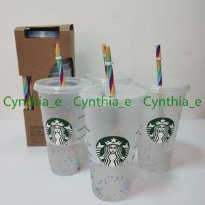 24OZ 710ml Starbucks Rainbow Plastic Cup Reusable Clear Drinking Tumblers Flat Bottom Cups Pillar Shape Lid Straw Mug Bardian L2