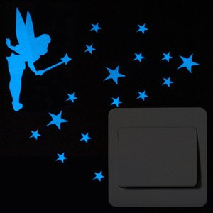 Blue-light Fairy Luminous Stars Candle Cartoon Switch Funny Glowing Car Stickers for Kids Room Decor 7bm3