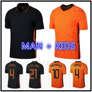 Memphis 21 22 Wijnaldum Futebol Jersey de Jong Holland de Ligt Strootman Van Dijk Virgil 2021 2022 Camisa de Futebol Adulto Men + Kids Kit