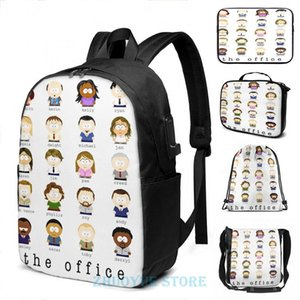 Backpack Funny Graphic Print The Office Cartoon Characters USB Charge Men School Bags Women Cosmetic Bag Travel Laptop