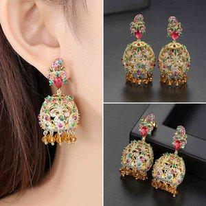Vintage Drop Earring Jhumka Indian Crystal Zircon Women Wedding Bridal Party Dangle Earrings Ethnic Gypsy Boho