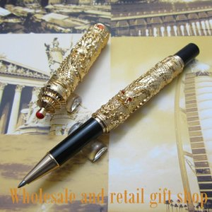 """Jinhao L300 Chinese """"double Dragons Playing With The Pearl"""" And Guta Roller Ball Pen Metal Gift Ballpoint Pens"""