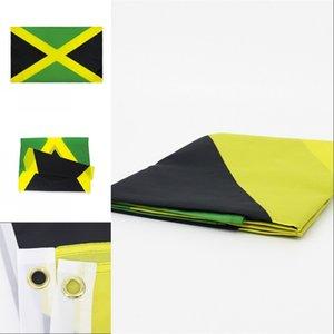 Bandera nacional de Jamaica para decoración minorista directa fábrica al por mayor 3x5fts 90x150cm Banner de poliéster Uso al aire libre de interior 1245 V2
