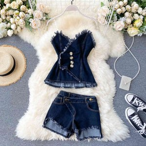2021 New Summer Denim Suit Two Piece Set Women Sexy Off-shoulder Slim Pleated Strapless Design Fringe Bra Top Shorts