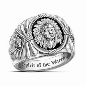 Cluster Hip Hop Style Viking Warrior Ancient Silver Ring Indian Spirit Totem Gutta Percha Black BFOQ