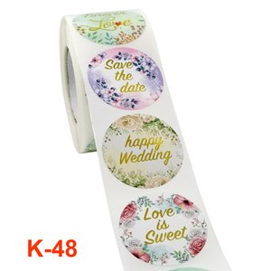 1.5inch Flower Gold Foil Circle Gift Package Labels 500pcs roll Valentine's Day Gifts Packaging Stickers Colorful
