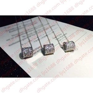 2020 New Cylinder Clover Full Diamond 18K Silver Necklace for Women Fashion Designer Brand Jewelry for Women with Box