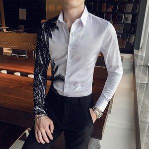 Мода мужские рубашки с длинным рукавом повседневная тонкая подходящая одежда платье-рубашка улица Hawaii социальная партия блузка мужская одежда Chemise Homme