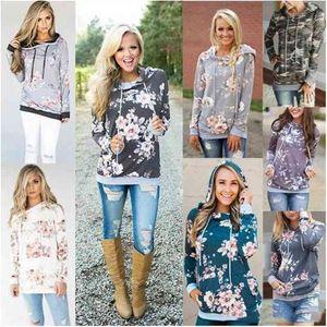 Girls Hoodies Floral Print Hooded Coat Women Autumn Long Sleeve Sweatshirts Fashion Jumper Tops Pullover Hoodie Casual Sport Outerwear D6294