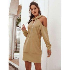 가을 캐주얼 겨울 드레스 스타일의 두건 어깨 누출 여성 스웨터 splicing DRS