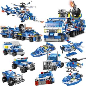 780PCS 8in1 City Police Command Trucks Building Blocks Policeman Car Helicopter Boat Model Bricks Toys for Children Building toy
