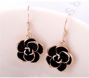 Rose Gold Plated Use Crystal Necklace&Earring Gemstones JewelryFlash Black Flower Pendant Necklace 16 Q2