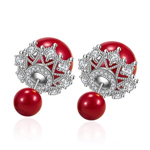 Girl Jewelry S925 Silver Earring Christmas Gift Red Ball Openwork Lace Stud For Women Wedding Lady Fashion Zircon