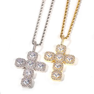Hip Hop Micro Paved Cubic Zirconia Bling Ice Out Cross Pendants Necklace for Men Rapper Jewelry