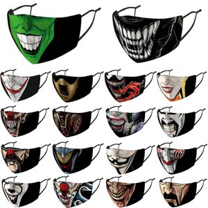 Halloween men women designer face masks Uncle Smoking Mask Skull Head Clown 3D Printing facemask in stock with filters party JMKS