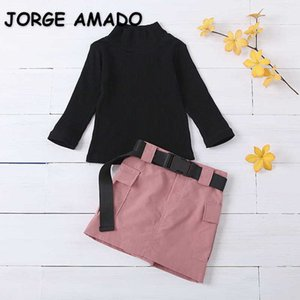 Wholesale Spring Kids 2 Pcs Sets Waffle High Collar Long Sleeves Sweater +Straight Skirt with Belt Girls Outfits E3058 210610