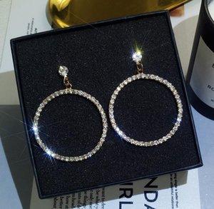 Glittering Crystal Rhinestones Girls Earrings Luxury Big Round Ladies Jewelry Wedding Bridal Earrings Accessories Diomonds Rome Style