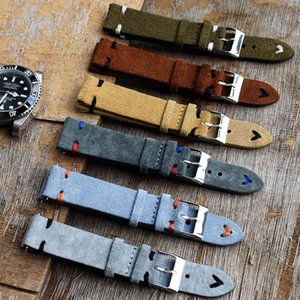 Bands High Quality Suede Leather Vintage Straps Blue Watchbands Replacement Strap for Watch Accessories 18mm 20mm 22mm 24mm