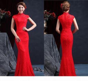 High Quality High Neck Sleeveless Chinese Mermaid Cheongsam Wedding Dresses Floor Length Zipper Back Red Lace Wedding Dress Bridal Gown