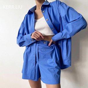 Women's Tracksuits 2021 Summer European And American Blue Lapel Cardigan Shirt Long-sleeved Elastic Waist Sports Shorts Cotton Suit Women