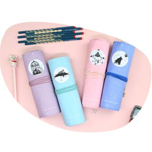 Roll Up Pencil Case Canvas Portable Pen Storage Bag Holder Stationery Organizer Student Supplies ,NO Pencils XBJK2104