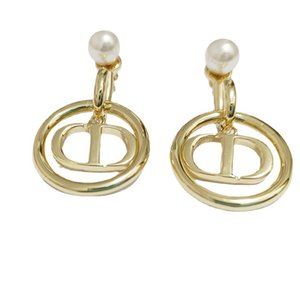D's new fashionable geometric letter pearl stud S925 silver needle gold smart women's Round Earrings