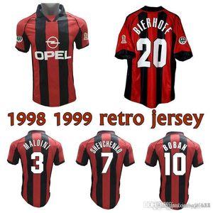 1998 1999 Bierhoff Weah Shevchenko Boban Gattuso Ретро Футбол Джерси 98 00 Maldini Ambrosini Классический старинный футбол