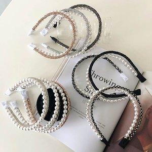 Teenage Girls Hair Sticks Kids Accessories Diamonds Pearl Head Bands Fashion Princess Rhinestone Crystal Children Accessory Double-Deck Headbands B4727