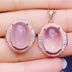 Per Jewelry Natural Real Pink Rose Quartz Luxury Set 1pc Ring Pendant 7.5ct*2pcs Gemstone 925 Sterling Silver J20465 Bracelet, Earrings & Ne