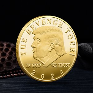 ترامب 2024 عملة تذكارية حرفة الانتقام جولة تنقذ أمريكا مرة أخرى شارة معدنية الذهب والفضة