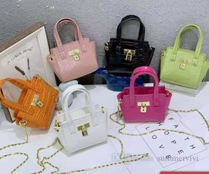 Designer kids crocodile grain handbags girls metals buckle chain One-shoulder bag women mini purse children PU leahter crossbody bags Q0721