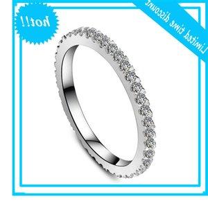 Solid Platinum PT950 Round Full Diamond Commitment Ring Finger Band Sieraden White Gold Brilliant Forever