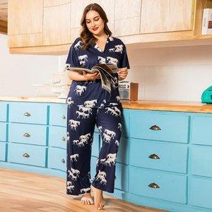 4xL плюс размер летние женские спящие одежды Pajamas хорошее качество лошадь печать пижамные наборы повседневная мягкая мягкая домашняя одежда пижама