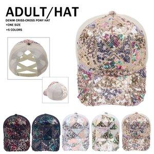 Sequin Ponytail Baseball Mesh Cap 5 styles Paillette Plaid Criss Cross Peak Net Hat Fashion Cotton Outdoor Sun LLA642