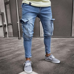 Men's Jeans Ripped Europe America Spring Autumn Casual Slim Male Zippered Pants Solid Big Pockets Fashion Hip Hop Trousers