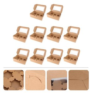 10pcs 6 Cavities Kraft Paper Cupcake Box With Inserts Containers Bakery Cake Carriers For Home Dessert Shop Gift Wrap