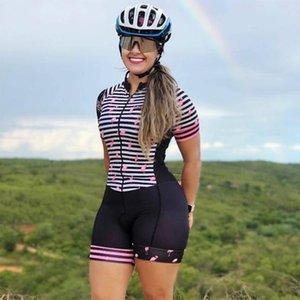 Conjuntos de carreras 2021 Ropa de ciclismo Triatlón Triathlon Femenino de manga corta Sudadera de una pieza Bicicleta de carretera Lycra transpirable transpirable transpiración con bolsillos