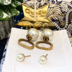 Fashion design pearl Stud for Women Gold Diamond Dangle Earrings Party Wedding Lovers Gift Engagement Jewelry Bride with Box